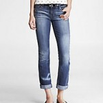 Express Distressed Rolled Cuff Skinny Jean!
